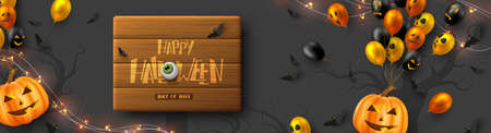 Happy Halloween horizontal banner. Glossy balloons with monster faces, pumpkins, flying bats and eyes. Handwritten lettering on wooden plank, dark background. Vector illustration.