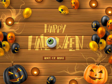 Happy Halloween banner. Glossy balloons with monster faces, pumpkins and candles. Handwritten lettering with eye on wooden background. Vector illustration.