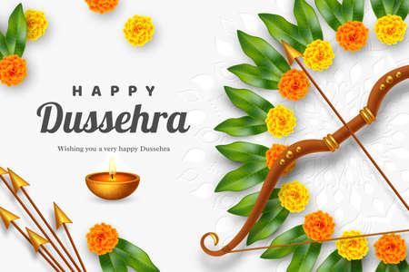 Happy Dussehra banner. Bow and arrow with flower wreath. Hindu Navratri festival, Vijayadashami holiday. Vector illustration. Stock Illustratie