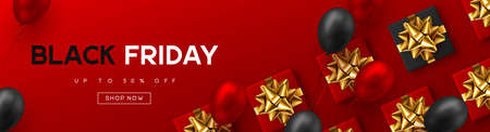 Black Friday sale banner. Red and black realistic glossy balloons, gift box, discount text. Red background. Vector illustration.