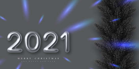 2021 Happy New Year banner. Hand writing 3d metallic numbers 2021 with pine branches. Monochrome background with blue contrast. Vector illustration.