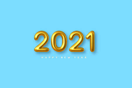 2021 New Year sign. 3d metallic golden numbers on blue background. Gold realistic 2021. Vector illustration.
