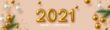 2021 Happy New Year banner. Hand writing golden metallic numbers 2021 with tinsel, pine branches and hanging ball on beige background. Vector illustration. Stock Illustratie