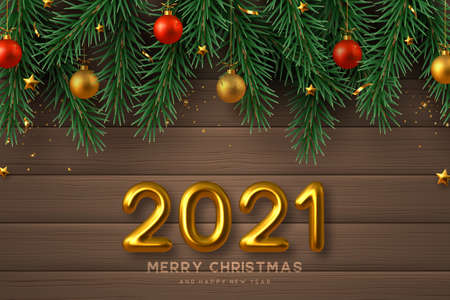 2021 New Year sign. Merry Christmas banner with realistic golden 3d numbers, gold and red balls, pine branches and stars. Wooden background. Vector illustration.