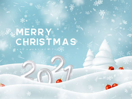 2021 New Year sign. 3d metallic numbers, falling snowflakes with snowdrifts, fir tree and decorative red balls. Winter snowy and Christmas background. Vector illustration. Stock Illustratie