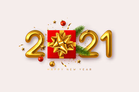 2021 Happy New Year. Realistic gift box with decorative elements and 3d metallic numbers on white background. Vector illustration. Stock Illustratie