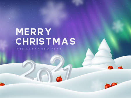 2021 New Year sign. 3d metallic numbers, Northern lights, snowdrifts, fir tree and decorative red balls. Winter snowy background. Aurora borealis landscape. Vector illustration.
