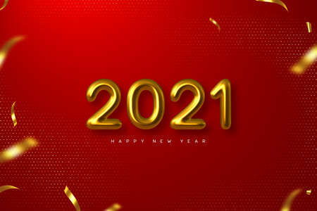 2021 New Year sign. 3d metallic golden numbers on red background. Gold realistic 2021. Vector illustration.