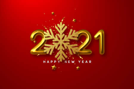 2021 Happy New Year sign. 3d golden glitter snowflake with tinsel, stars and 3d metallic golden numbers on red background. Vector illustration.