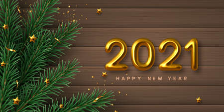 2021 New Year sign. Merry Christmas banner with realistic golden 3d numbers, pine branches and stars. Wooden background. Vector illustration.