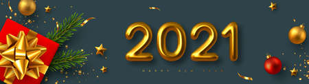 2021 New Year sign. Realistic gift box with decorative elements and 3d metallic numbers on dark background. Vector illustration.