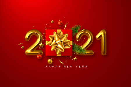 2021 Happy New Year. Realistic gift box with decorative elements and 3d metallic numbers on red background. Vector illustration.