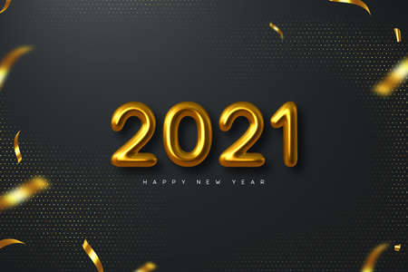 2021 New Year sign. 3d metallic golden numbers on black background. Gold realistic 2021. Vector illustration. Stock Illustratie