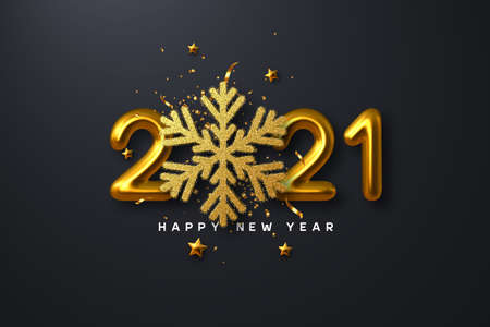 2021 Happy New Year sign. 3d golden glitter snowflake with tinsel, stars and 3d metallic golden numbers on black background. Vector illustration.