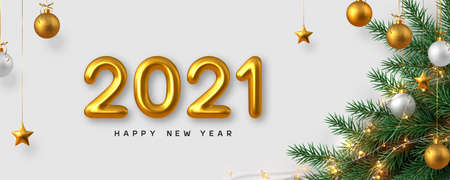 2021 New Year sign. New Year banner with realistic golden 3d numbers, pine branches, garland and stars. White background. Vector illustration.