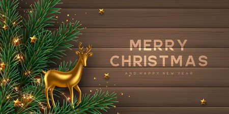 Christmas horizontal banner with realistic gold metal deer, pine branches, garland and stars. Wooden background. New Year vector illustration. Stock Illustratie