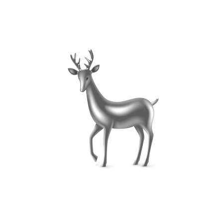 Realistic 3d silver metal deer. Decorative design element for New Year, Christmas holidays. Isolated on white background. Vector illustration.