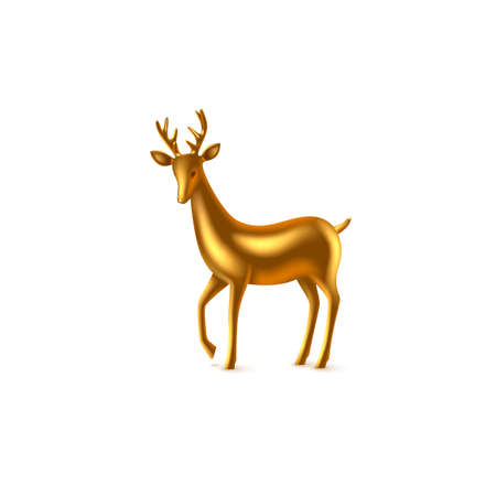 Realistic 3d golden metal deer. Decorative design element for New Year, Christmas holidays. Isolated on white background. Vector illustration. Stock Illustratie
