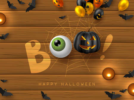 Happy Halloween banner with text Boo. Glossy balloons with monster faces, eye, pumpkin, flying bats and candles. Handwritten lettering with eye on wooden background. Vector illustration.