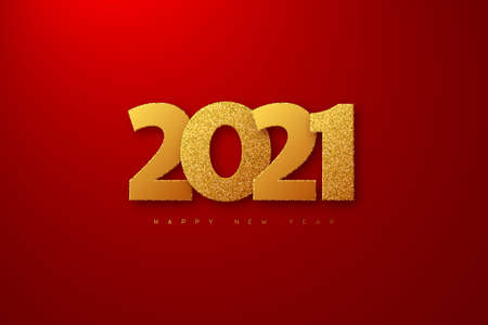 2021 New Year sign. 3d golden glitter numbers on red background. Vector illustration.