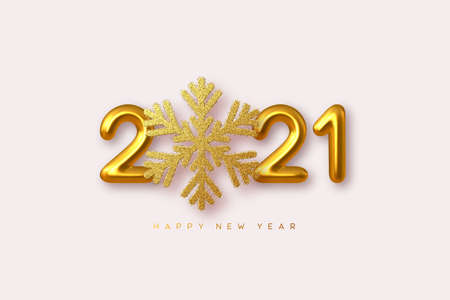 2021 Happy New Year sign. 3d golden glitter snowflake with 3d metallic golden numbers on white background. Vector illustration. Stock Illustratie