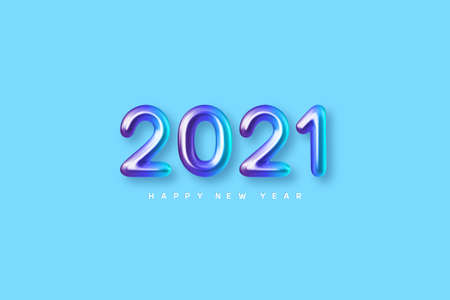 2021 New Year sign. 3d metallic colorful numbers on blue background. Glossy realistic 2021. Vector illustration.