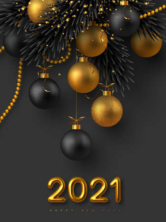 2021 New Year sign. Realistic 3d golden metallic numbers, glitter balls, fir-tree branches and golden beads with tinsel. Christmas background. Vector illustration.