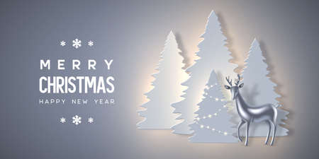 Christmas holiday banner with paper cut style fir-tree, glowing lights and glossy metallic deer. New year background. Vector illustration.
