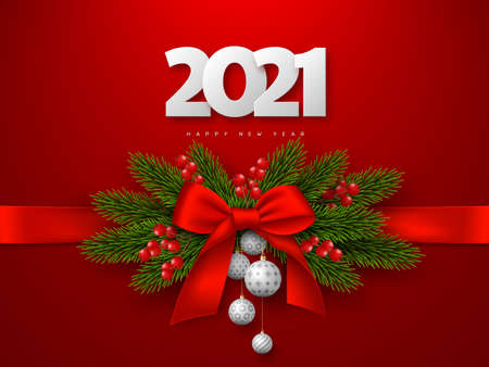 Happy New Year composition with 3d white numbers 2021 and bow, fir-tree branches, balls, berries. Red background. Vector illustration.