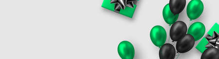 Glossy balloons in green and black colors with gift box. Vector balloons background for holidays or birthday party. Copy space, white background.