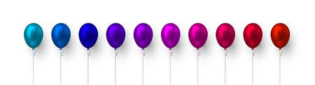 Realistic 3d glossy balloons in blue, purple and red colors. Vector elements for holiday backgrounds or birthday party. Isolated on white.