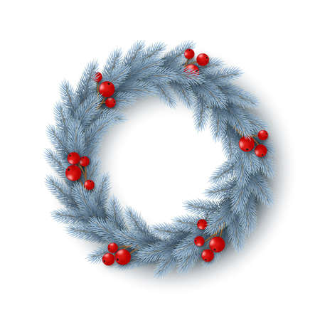 Christmas wreath with realistic fir-tree branches and berries. Decorative design element for holiday posters, flyers, banners. Isolated on white background. Vector illustration.