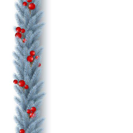 Christmas vertical garland with realistic fir-tree branches and berries. Decorative design element for holiday posters, flyers, banners. Isolated on white background. Vector illustration. Stock Illustratie