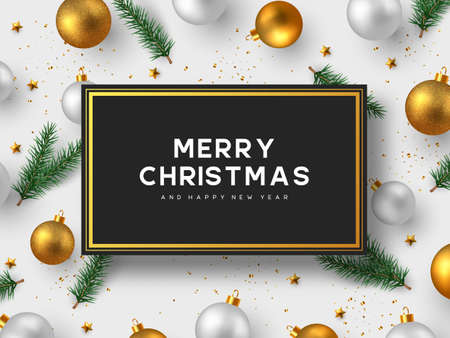Christmas holiday design. Realistic 3d balls, fir-tree branches, golden stars and tinsel. New Year background. Vector illustration. Stock Illustratie