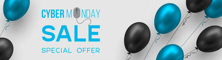 Cyber monday sale poster or banner for seasonal discounts. Realistic blue and black glossy balloons on code background. Sale concept. Vector illustration. Stock Illustratie