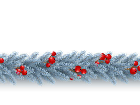 Christmas horizontal garland with realistic fir-tree branches and berries. Decorative design element for holiday posters, flyers, banners. Isolated on white background. Vector illustration.