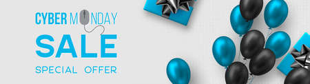 Cyber monday sale poster or banner for seasonal discounts. Gift box with realistic bow and glossy blue and black balloons on code background. Sale concept. Vector illustration. Stock Illustratie