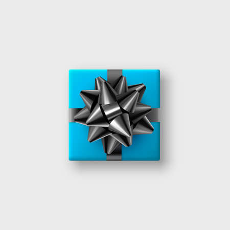 Realistic blue gift box with glittering black bow and ribbon. Decorative design element for holidays. Vector illustration.