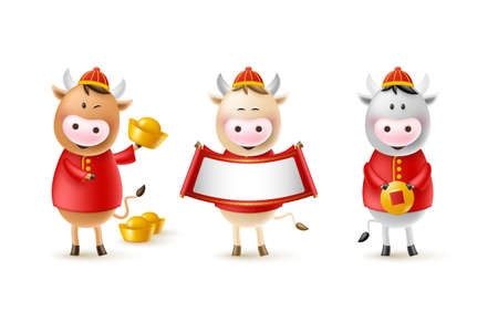 Chinese New Year cute bulls. Funny characters in cartoon 3d style. Year of the Ox zodiac. Happy bulls with gold coin, ingot and scroll. Isolated on white. Vector illustration.