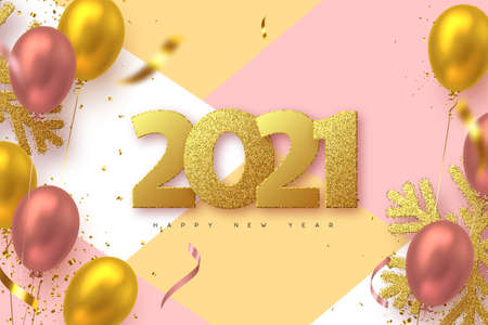 2021 Happy New Year sign. 3d golden glitter snowflakes with tinsel, glossy balloons and numbers. Vector illustration. 向量圖像