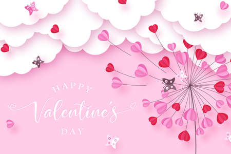 Valentines day background with paper cut clouds, butterflies and dandelion made of flying hearts. Love concept. Vector illustration. 向量圖像