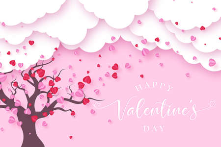 Valentines day background with paper cut clouds and tree made of flying hearts. Love concept. Vector illustration. 向量圖像