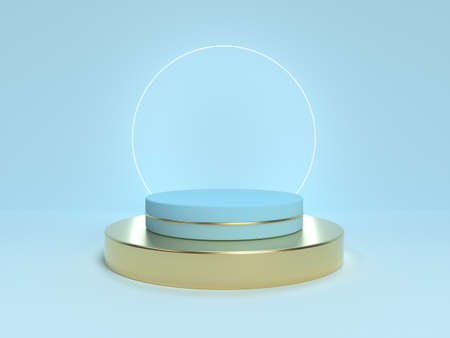 Blue podium abstract minimal scene. Mock up for product presentation. 3d render illustration.