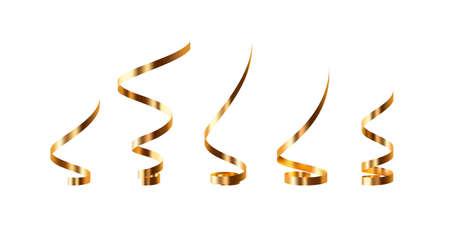 Set of golden serpentine. 向量圖像