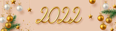 2022 Happy New Year banner. Hand writing golden metallic numbers 2022 with tinsel, pine branches and hanging ball on beige background. Vector illustration.