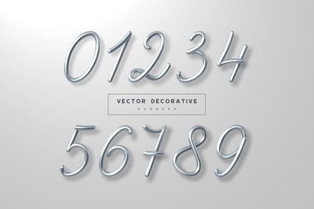 Set of silver metallic numbers. 向量圖像