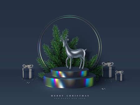 Christmas scene with metallic deer. Stock Illustratie