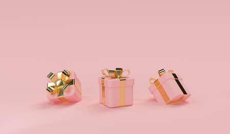 3d pink gift box scene. Stockfoto