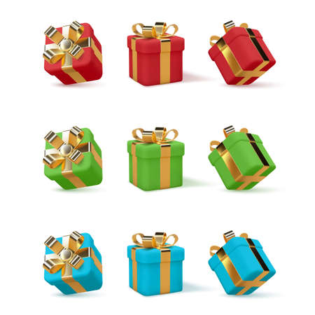 Set of 3d gift boxes.
