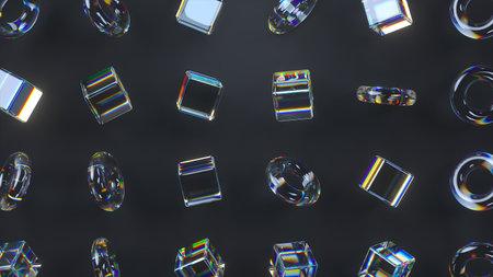 3d glass rotating cubes and torus
